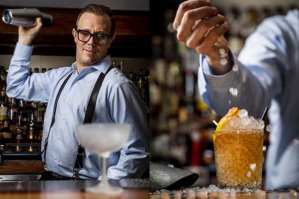Expert mixologist Jim Kearns making a drink at the bar Slowly Shirley in New York City