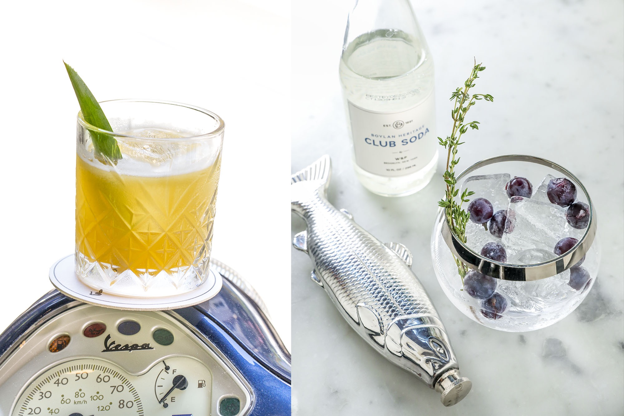 Drink with a fish flask and garnished with thyme
