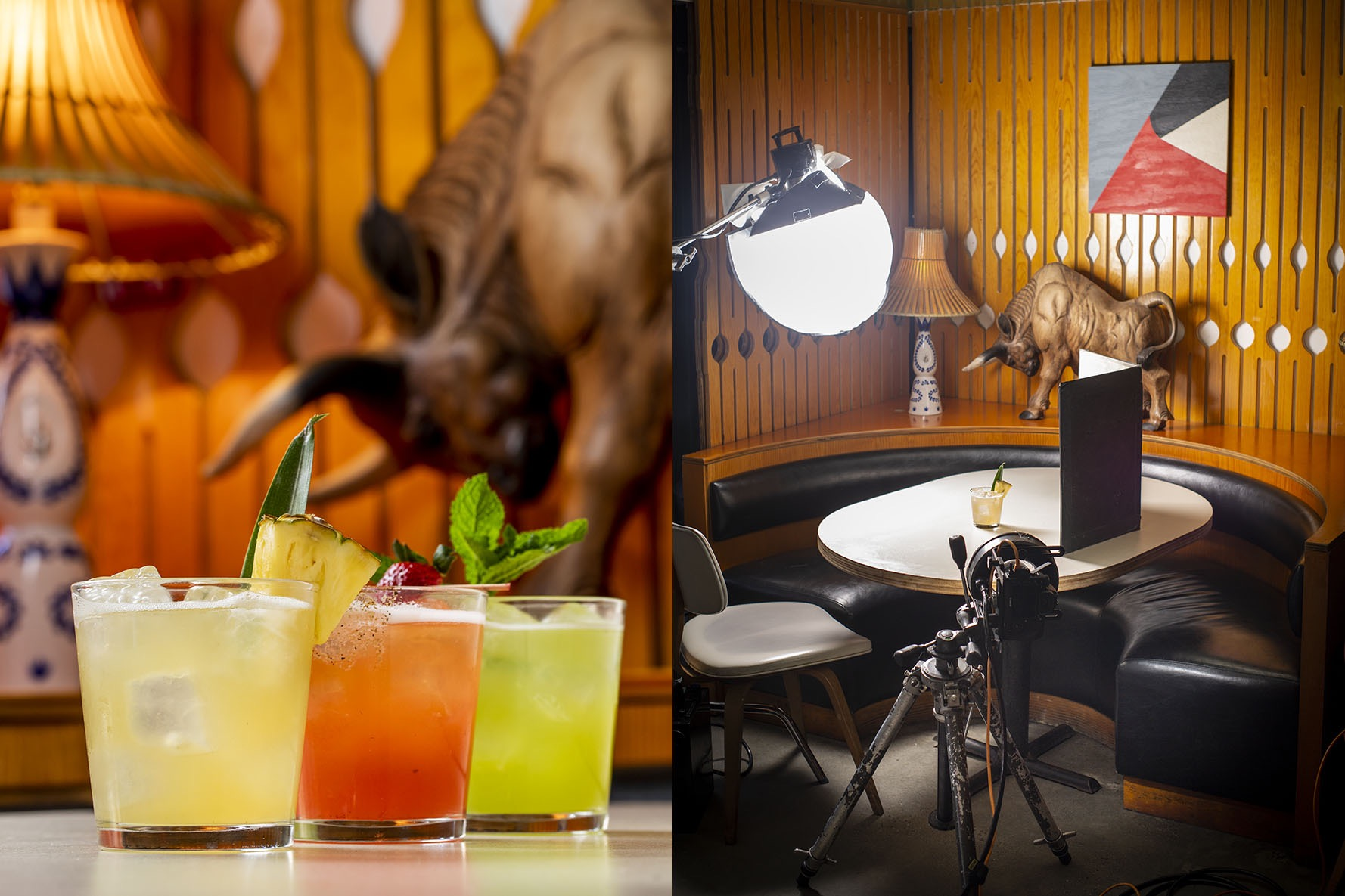 Colorful cocktails with a bull charging at them from behind