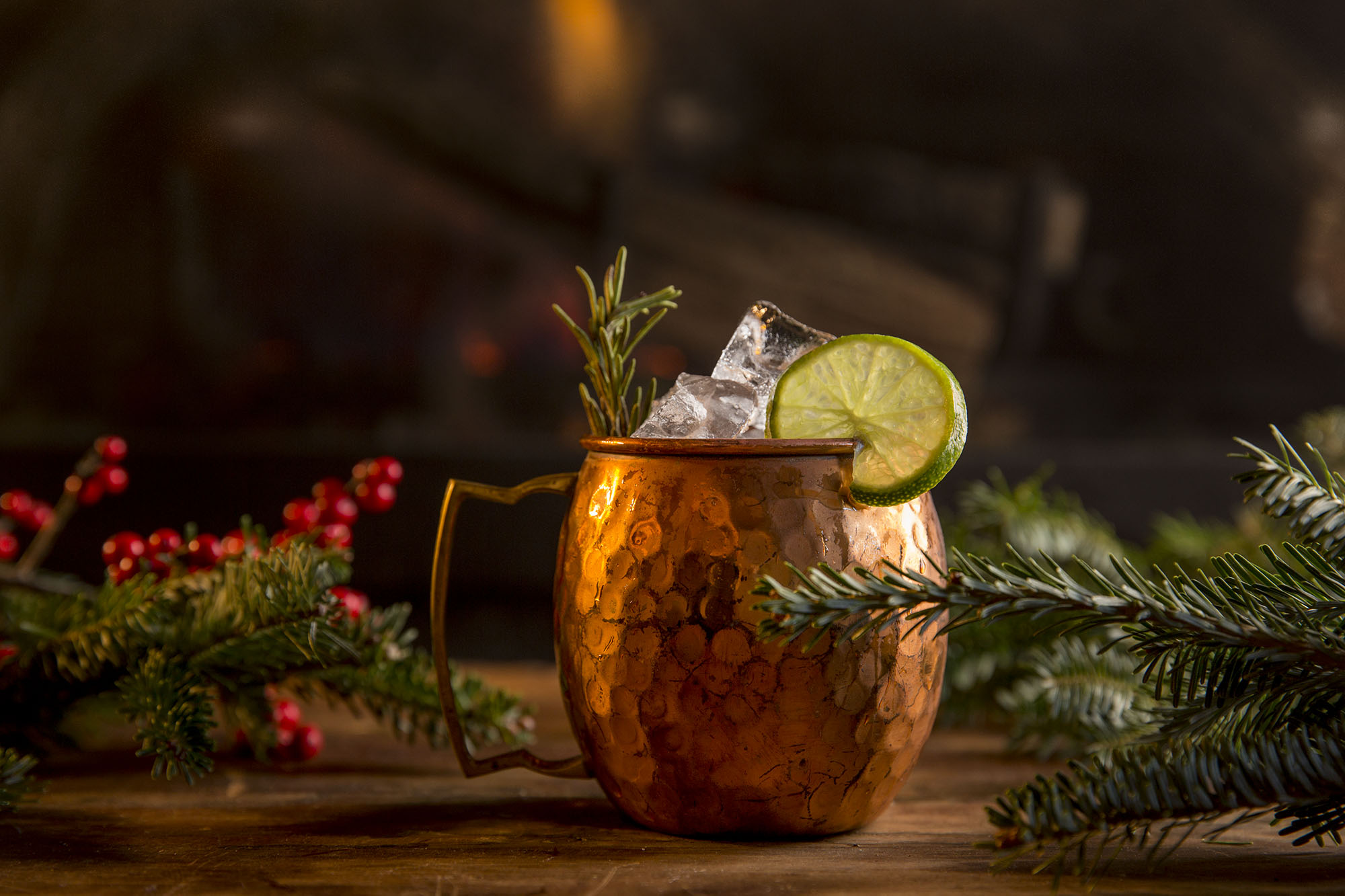 A Moscow Mule sitting in front of the fire